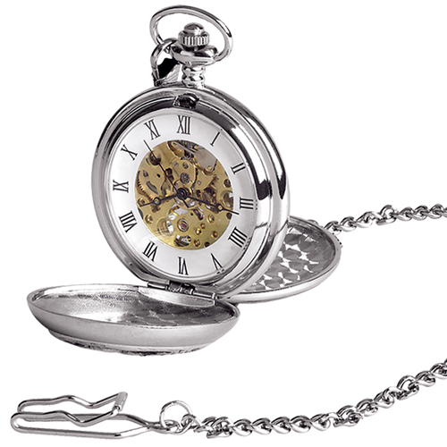 Spitfire Pewter Mechanical Skeleton Pocket Watch Can Be